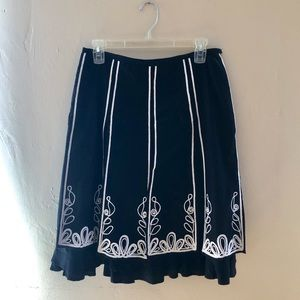 Black and white embroidered skirt